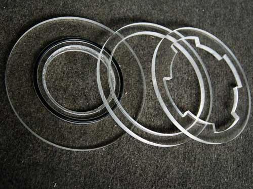 unassembled skimmer flange lock ring components
