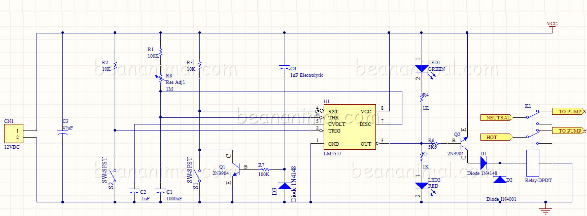 555 aquarium feeding timer circuit schematic