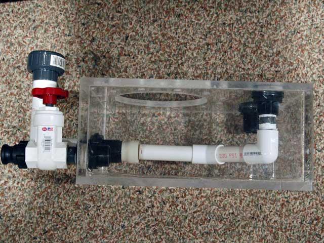 skimmer base side view showing internal plumbing